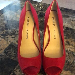 Chinese Laundry Shoes - Chines laundry spike red suede heels! 7.5